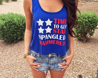 Star-Spangled-Hammered. Women's Crop Top. Festival Crop Top. Country Festival Top. American-Flag. Summer Crop Top. July 4th Crop Top.
