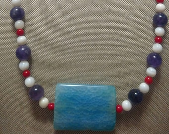 Blue Agate and Amethyst and Red Coral and Mother of Pearl Two Piece Set