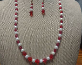 Red Crystal and Glass Two Piece Set
