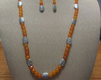 Carnelian and Silver Three Piece Set