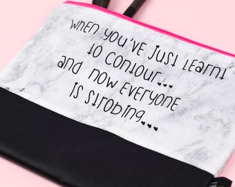 When You ve Just Learn t To Contour And Now Everyone Is Strobing .. Marble  and Faux Leather Pouch 2b132364cc3ca