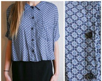 Vtg 90s Patterned Crop Top Button Up Blue Formal Blouse