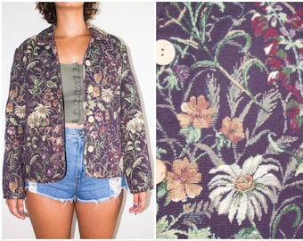 Vintage Floral Coat Purple Wildflower Mod Tapestry Blazer Jacket