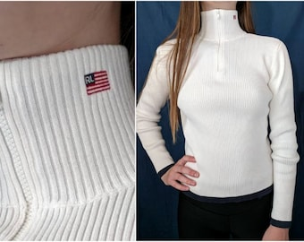 eb6def4d8416e Vintage RALPH LAUREN Sweater Polo Ribbed Half Zip Turtleneck