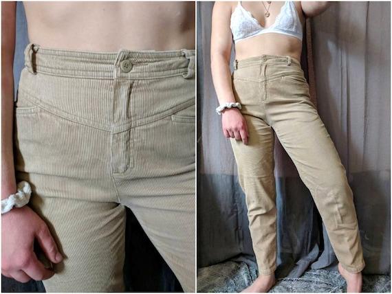 80s LIZ CLAIBORNE Corduroy Pants Tan Cigarette Pan