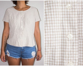 Vtg 90s Gingham Button Tan Hollywood Blouse