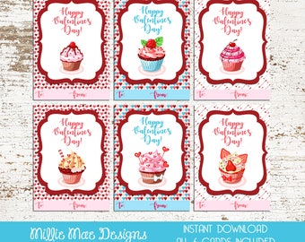 INSTANT DOWNLOAD - Cupcake Valentine's Day Cards