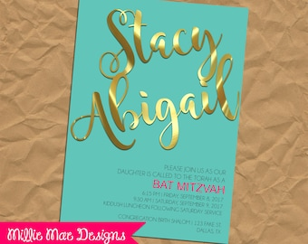 Turquoise, Pink and Gold Bat Mitzvah Invitation
