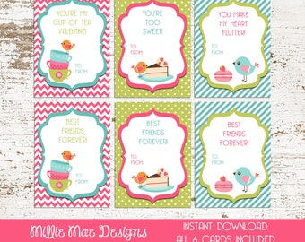 INSTANT DOWNLOAD - Bird Tea Party Valentine's Day Cards