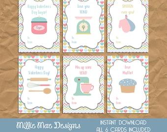 INSTANT DOWNLOAD - Retro Baking Kitchen Valentine's Day Cards