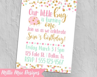 Lady Bug First Birthday Invitation - Lady Bug Baby Shower Invitation - Our Little Bug - Pink - Mint - Gold