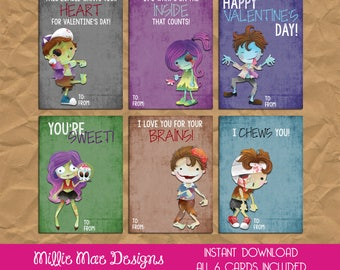 Zombie greeting card etsy instant download zombie valentines day cards m4hsunfo