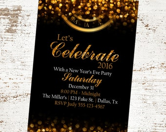 custom black and gold new years eve invitation glitter clock