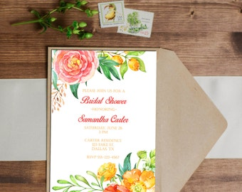 Watercolor Summer Floral Invitation - Birthday - Wedding - Baby Shower - Bridal Shower