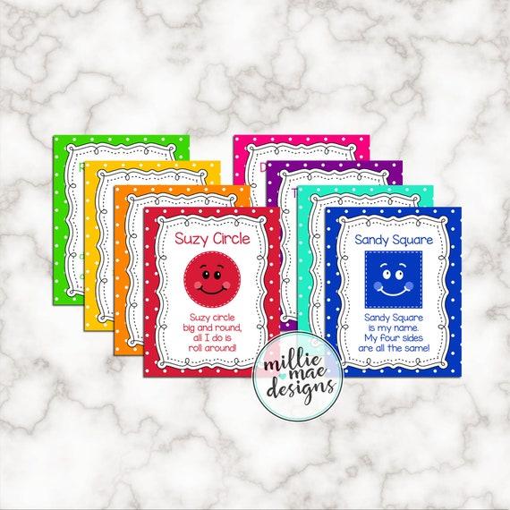 Cute Shapes Flash Cards Poem Set Of 8 INSTANT DOWNLOAD Etsy