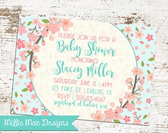 Cherry Blossom Baby Shower Invitation - Event can be changed