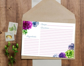 Succulent Recipe Cards - Instant Download - 3x5 and 4x6