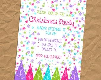 Custom Jeweltone Snowflake and Tree Winter Christmas Invitation