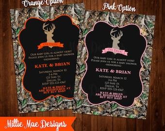 Custom Oh Deer! Hunter Camo Baby Shower Invitation - Boy or Girl