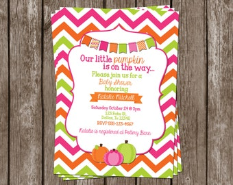 Custom Pink Pumpkin Invitation