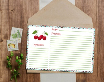 Cherry Recipe Card - Instant Download - 3x5 and 4x6