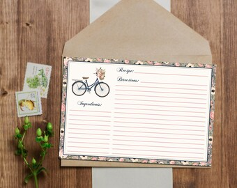 Shabby Chic French Floral Bicycle Recipe Cards - Instant Download - 3x5 and 4x6