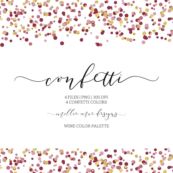 INSTANT DOWNLOAD Wine Confetti Border Red Burgundy | Etsy
