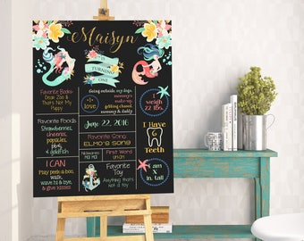 Custom Coral, Mint and Gold Floral Mermaid Birthday Stat Chalkboard