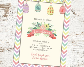Custom Floral Easter Egg Invitation