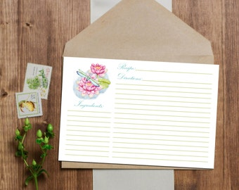 Dragonfly Recipe Card - Instant Download - 3x5 and 4x6