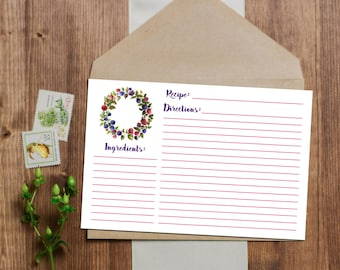 Berry Recipe Cards - Instant Download - 3x5 and 4x6