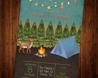 Custom Watercolor Camping Invitation
