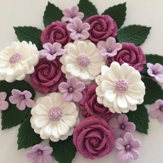 BLACK  BOUQUET Edible Sugar Paste Flowers Cup Cake Decorations Toppers 23