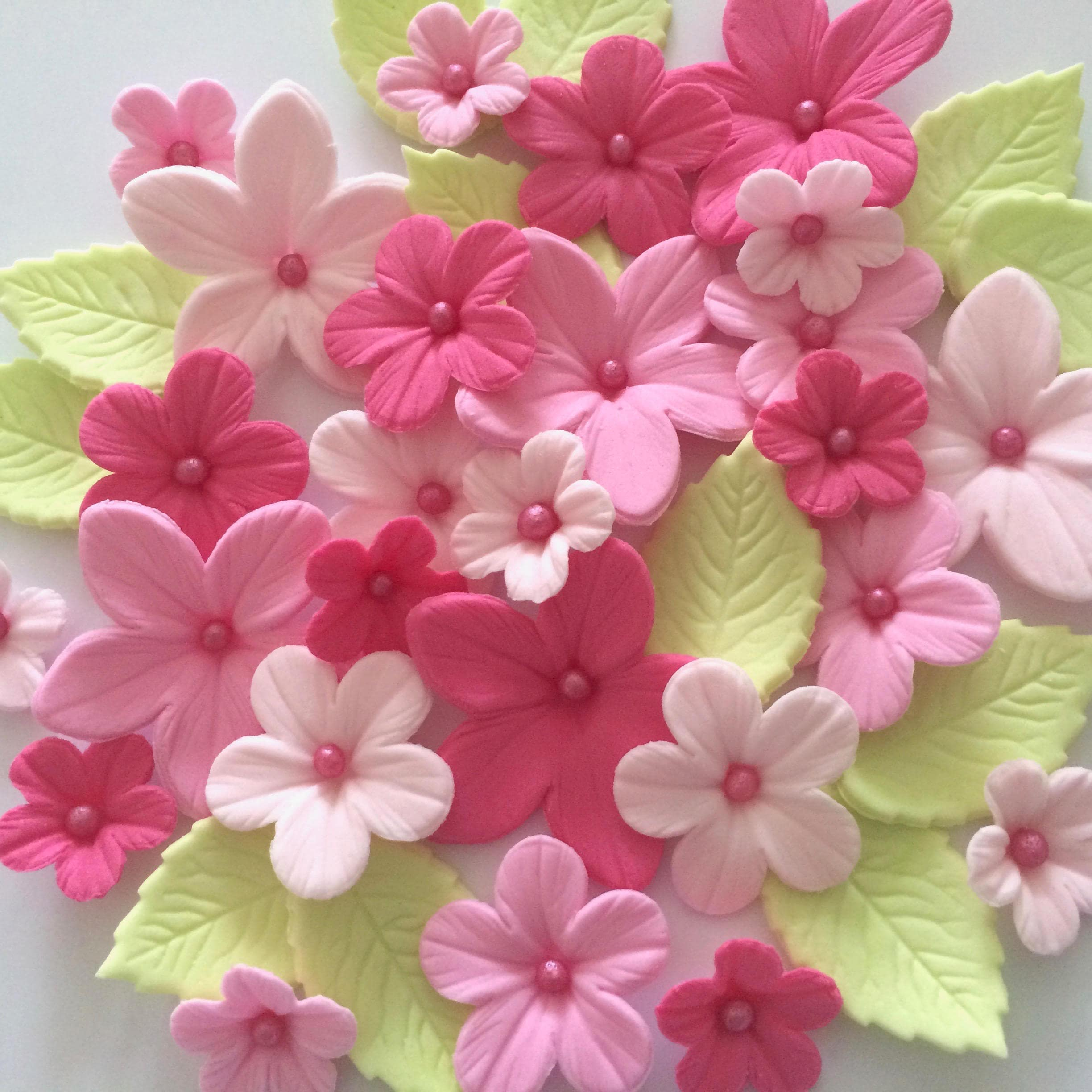 Pink Sugar Flowers Edible Cake Decorations Cupcake Toppers Etsy