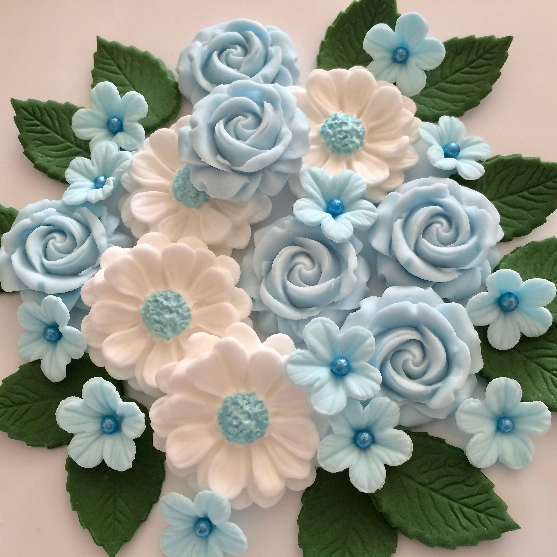 Baby Blue Rose Bouquet Edible Sugar Paste Flowers Wedding Cake Etsy