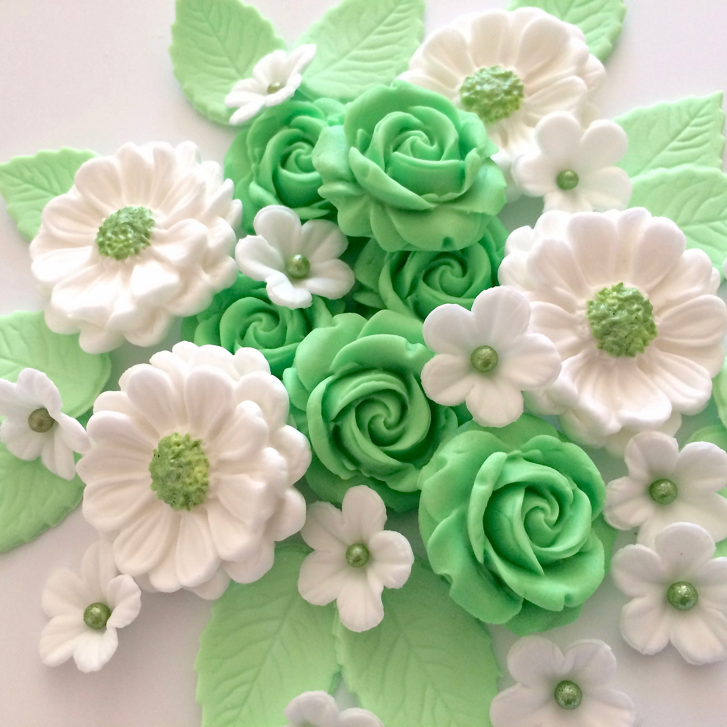 Mint Green Rose Bouquet Edible Sugar Flowers Cake Decorations Etsy