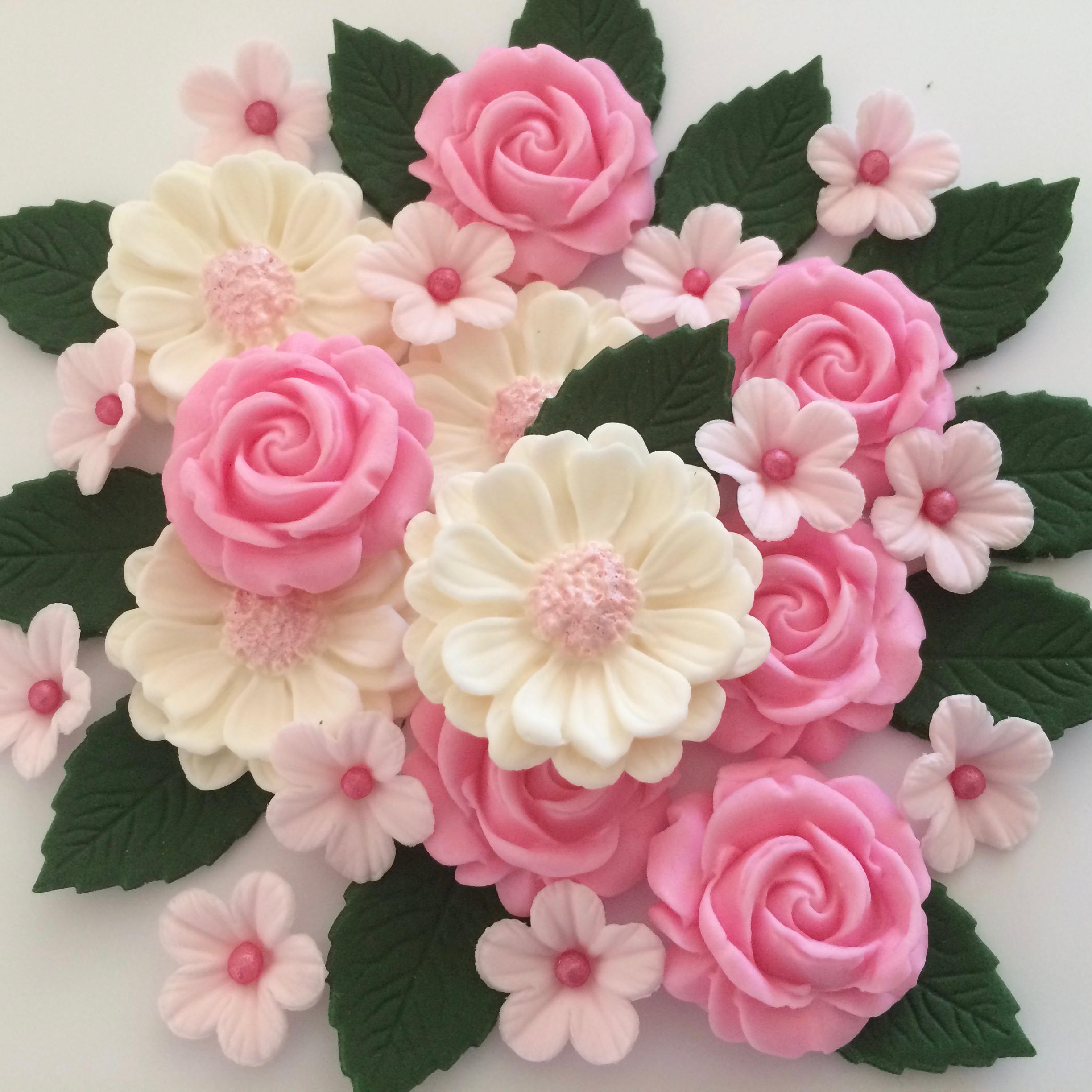 Candy Pink Rose Bouquet Edible Sugar Flowers Cake Decorations Etsy