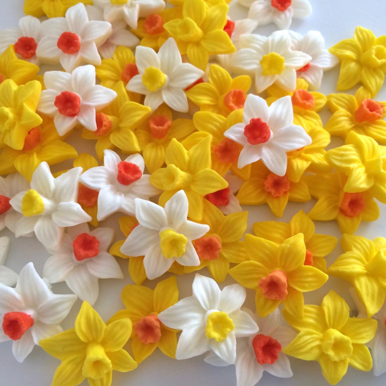 24 DAFFODILS edible sugar flowers cake decorations cupcake ...