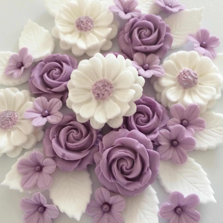 Lilac Rose Bouquet Edible Sugar Flowers Cake Cupcake Etsy
