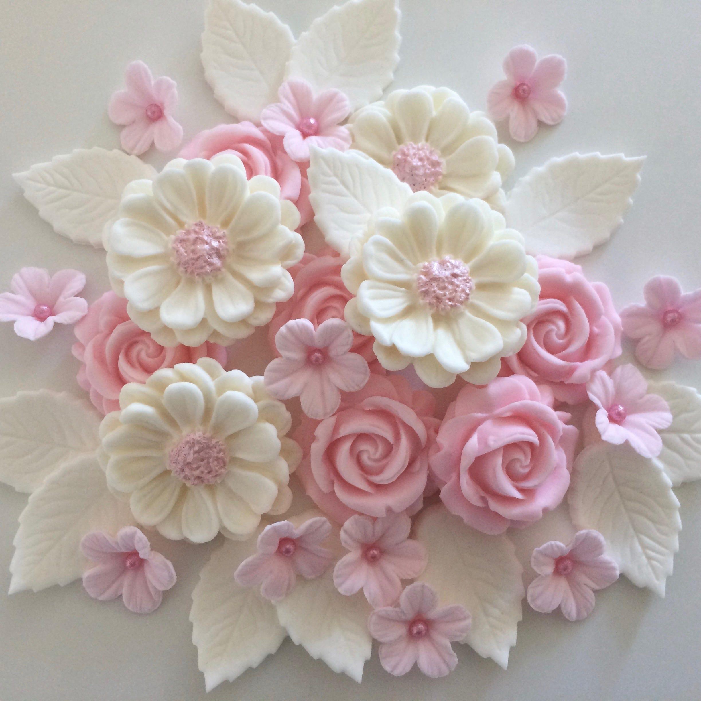 Pink Blush Rose Bouquet Edible Sugar Paste Flowers Cake Cupcake