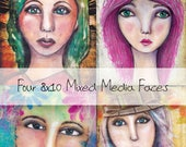 Mixed Media Faces for art journals black and white line drawings templates to create your own mixed media girl for journaling printables
