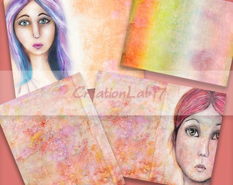 Set of four digital art papers,mixed media girl faces for art journals, size 8.5x11 scrapbooking papers,printable,download,print and create