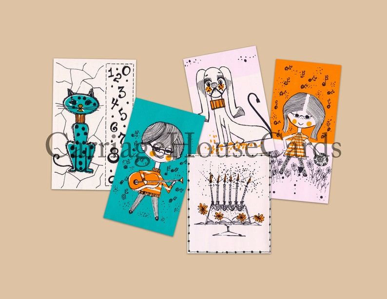 Retro clip art, digital download, cat, dog, birthday cake, and two girls,  vintage papers for card making, art journaling, and scrapbooking