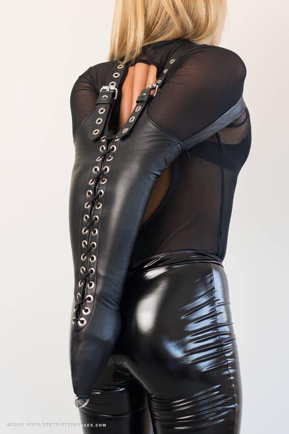 Bondage Leather Armbinder Lacing Custom Made Italian Leather-8629