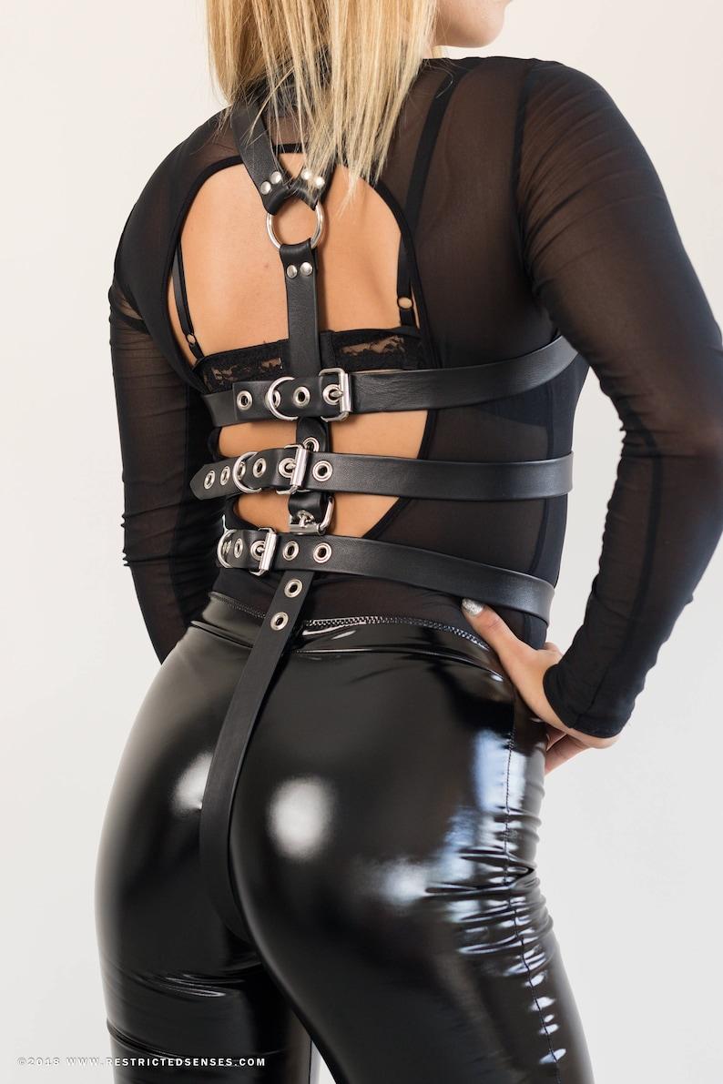 Bondage gear legs binder restraint sleeve leather bdsm costume slave leg body harness