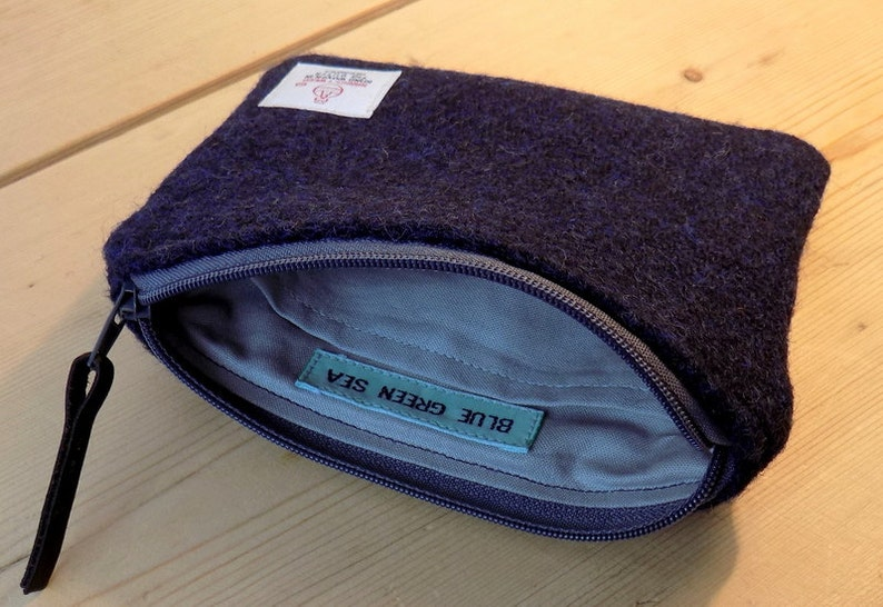 Italian navy plain weave with grey zip and grey cotton lining Harris Tweed coin pursezipper pursegadget pouch