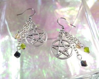 PENTACLE/PENTAGRAM in beautiful dangling earrings.