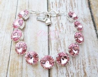 27f252e12 Light Rose, Swarovski 12mm Bracelet, Crystal, Bridal, Pink, Round, Silver,  Adjustable, DKSJewelrydesigns, FREE SHIPPING