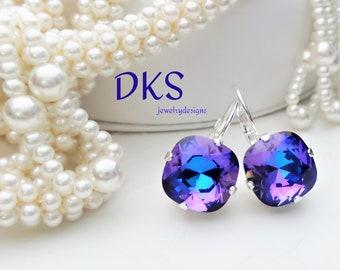 Free Shipping in USA Purple crystal cut bead post earrings ...
