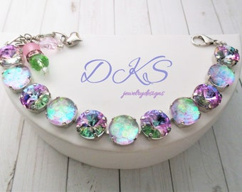 91bf034f154 Cotton Candy, Swarovski Bracelet, 12mm, hand Painted Cabs, Adjustable,  DKSJewelrydesigns, FREE SHIPPING